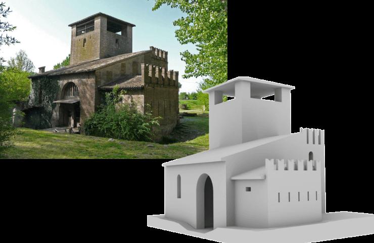 Modello 3D della Rocca Sparafucile di Mantova